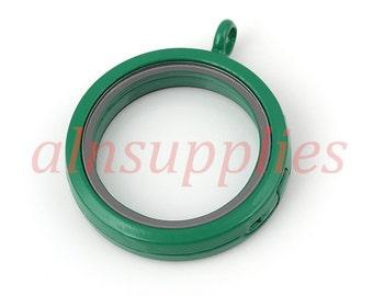30mm Round Green Window Locket, Painted Glass Locket Magnetic Closure
