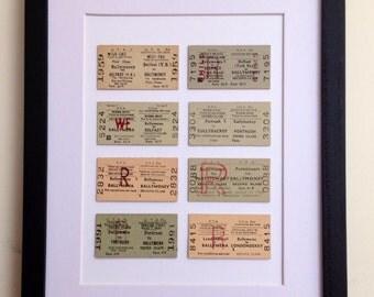 Original framed railway tickets of Northern Ireland 1960s-1970s 10x8 inch ( 8 tickets)