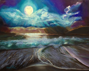 Mystical,oil painting18x24, ocean scene,seascape, original art, wall art, home decor