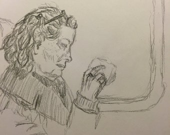 Woman on 'LIRR' - Pencil