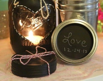 Chalkboard Mason Jar Lids with Rim (Reg mouth)