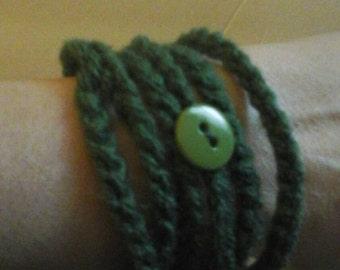Wrap Around Button Bracelet - Hunter Green