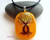 Spirit Tree Original Dichroic Fused Glass Pendant One-of-a-Kind Handmade Jewelry Golden Yellow