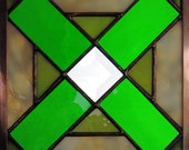 Handmade Six Inch Stained Glass Quilt Square Hugs and Kisses in Shades of Green