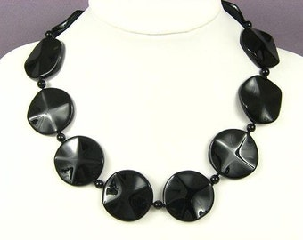 Necklace Black Onyx 35mm Wave Rounds 925 NSNX4409