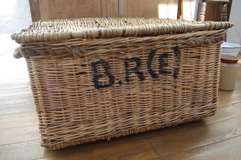 Large Antique Vintage Wicker Basket On Rollers Storage