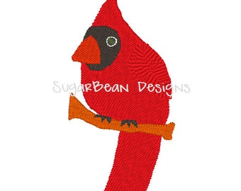 Cardinal Embroidery Design. Red Bird Machine Embroidery Design. 4x4 hoop size