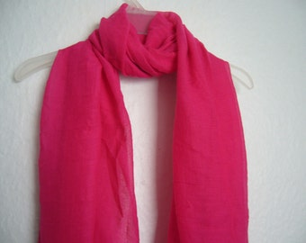 Bright Pink Scarf, For Her,  Pink Scarf, Spring, Summer, Autumn Scarf,