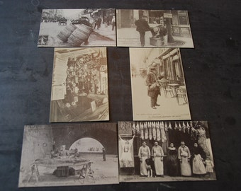 Vintage French re-edition postcards in black and white.Markets and shops. Set of 6 cards. Edited by les Cartes d'Autrefois