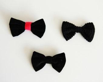 Soft black bow / brooch / bow tie / hair decoration