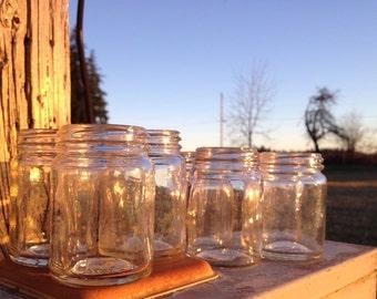 Small Vintage Glass Jars, set of 7