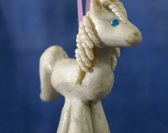 Polymer Clay White Pony with Blue Eyes Ornament