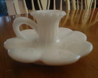 Vintage Kemple Milk Glass Candlestick Holder