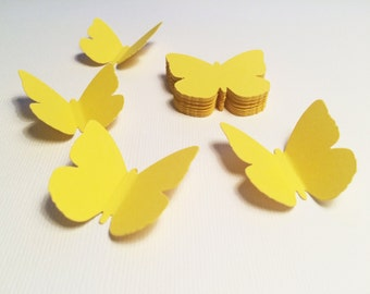 25 Lemon Yellow Butterfly Paper Punches, Die Cuts - 1.6""