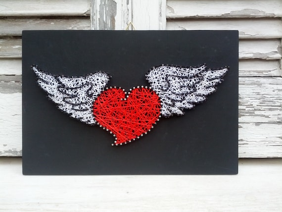 Handmade string art nail art sign vintage heart with wings like this item prinsesfo Choice Image