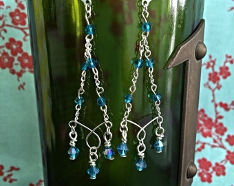 Silver Teal Chandelier Earrings