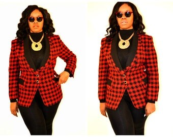 Plus size Hounds tooth jacket/ Plus size blazer / Plus size Jacket / Size 14/16