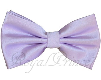 Pastel Lilac Men's Butterfly Style Pre-tied Bowtie or with Pocket Square Hanky 100VV