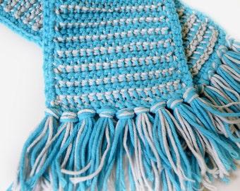 Crochet Scarf - Blue & white reversible
