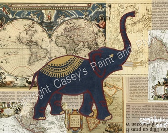 Elephand World Map Multi-Media Collage