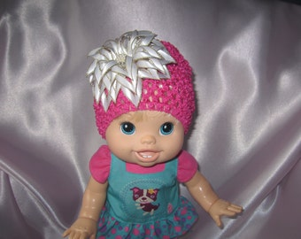 Handmade hat with satin flower. Hair accessories. Infant croshet hat with flower.
