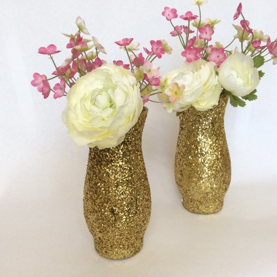 Items similar to gold glitter vase wedding centerpiece