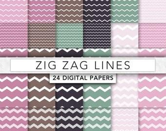 Stripe digital paper,vintage lines digital paper,chevron digital paper,lines paper,Zig Zag digital paper - Z007