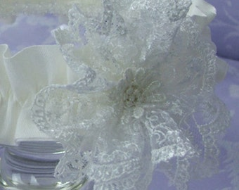 Lace Rosette christening Headband by Okika made in England