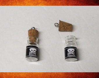 BIG SALE Pendant - Poison Glass Charm Bottle and Cork. Set of 2 for crafts or jewelry-making. #BEAD-347