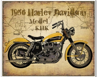1956 Harley Davidson Vintage Motorcycle art print with map of Sturgis artistically added to background.Great gift for motorcycle enthusiasts