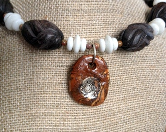 Carved Wood & Shell Bead Memory Wire Necklace with Handmade Ceramic/Glass Pendant