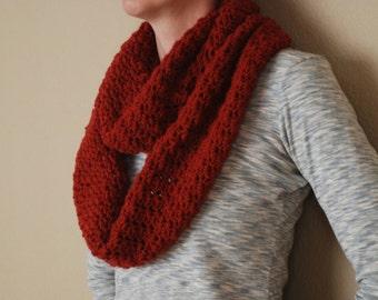 Deep Red Crocheted Cowl / Crochet Cowl