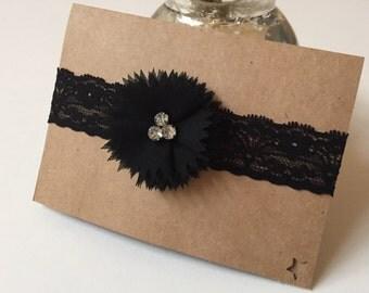 Handmade headband, baby headband, black headband 0-3 months