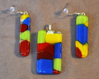 fused glass pendant and earring set, multi colored, handmade, kiln fired