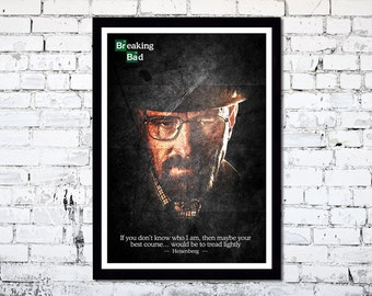 Breaking Bad // Walter White // Heisenberg // A3 poster print // Unique Art