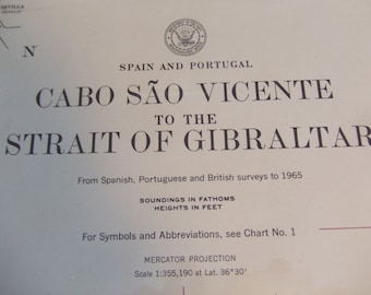Spain and Portugal - Cabo Sao Vicente to the Strait of Gibraltar - Nautical Chart, 2241