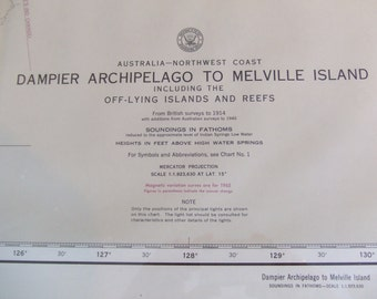 Dampier Archipelago to Melville Island ~ Northwest Coast of Australia - and off-lying Islands and Reefs, from British Surveys to 1914, #8006