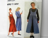 Dress Pattern, Jumper Pattern, Prairie Style, Simplicity 9343, Size 12 13 14, MidCalf Dress, Modest Dress, Simplicity Pattern, Uncut Pattern