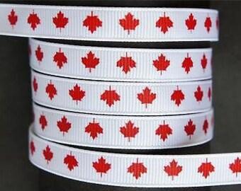 """Canada Maple Leaf Canadian 10 mm 3/8"""" Grosgrain Ribbon"""