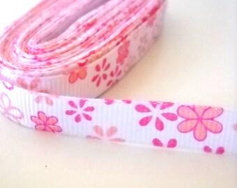 """Pink Flowers 10mm 3/8"""" White Grosgrain Ribbon"""
