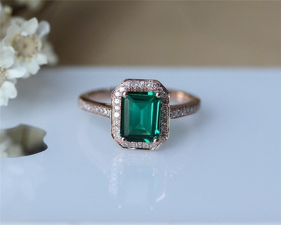 Emerald Wedding Anniversary Gifts: Birthday Gift 6x8mm Emerald Ring Solid 14K Rose By