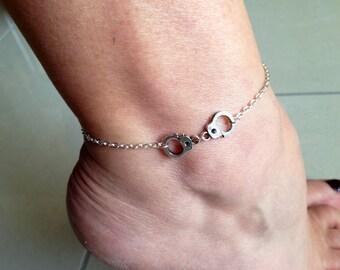 Bracelet or anklet,handcuff anklet or bracelet silver plated ankle bracelet, ankle jewelry,partners in crime, BFF, BDSM