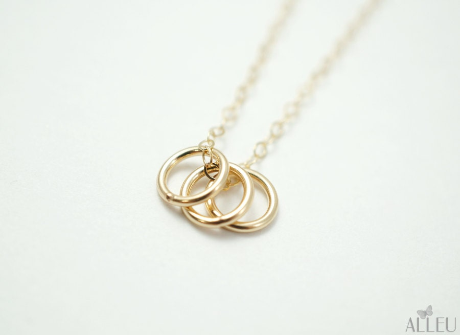 family necklace three circle necklace simple gold by alleu