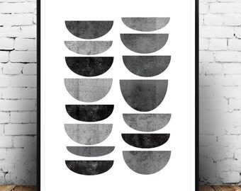 Minimalist print, Abstract art, Geometric poster, Mid century modern, Scandinavian design, Minimal decor, Modern wall art, Black and white