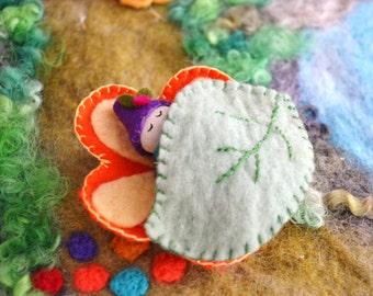 Wood Peg Baby Doll - Sleeping Baby in Flower Cradle - Waldorf Baby Doll