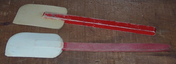 Vintage Rubber Spatulas Wood Red Handle Kitchen Tools
