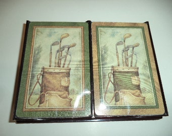 Style & Paper Inc. Playing Cards Double Deck - Golf New with case Poker Bridge Euchre 1970's