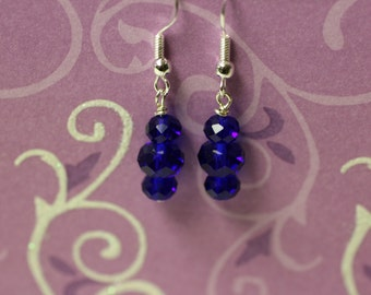 Electric Blue Crystals on Sterling Silver Earwires. (S-150040)