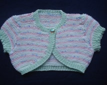 Baby Striped Pink and Mint Bolero or Cardigan