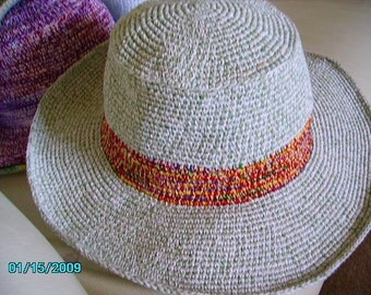 Light Green and White Cotton crochet brimmed hat
